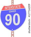 interstate highway 90 road sign ... | Shutterstock .eps vector #417716209