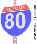 interstate highway 80 road sign ... | Shutterstock .eps vector #417717385