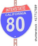 interstate highway 80 road sign ... | Shutterstock .eps vector #417717589