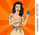 Pop Art Girl With Smartphone....