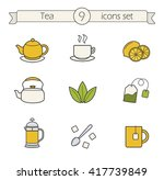 Tea Color Icons Set. Teapot ...