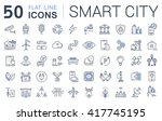 set vector line icons in flat... | Shutterstock .eps vector #417745195