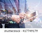 double exposure of two... | Shutterstock . vector #417749179