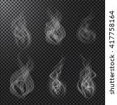 set of smoke on dark... | Shutterstock . vector #417758164