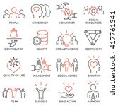 vector set of 16 thin icons... | Shutterstock .eps vector #417761341