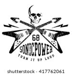 vector rock music print... | Shutterstock .eps vector #417762061