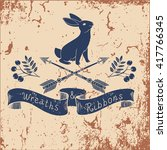 hand drawn vector rabbit in... | Shutterstock .eps vector #417766345