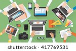 creative team working together... | Shutterstock .eps vector #417769531