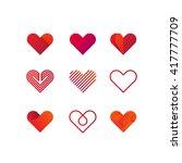 Set of heart vector logo. Line art, gradient and flat design templates | Shutterstock vector #417777709
