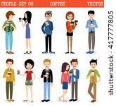 set of modern people with paper ... | Shutterstock .eps vector #417777805