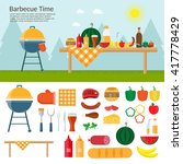 fruit  wine  barbecue  grill ...   Shutterstock .eps vector #417778429