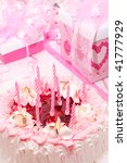 cake with candles  pink  gifts  ... | Shutterstock . vector #41777929
