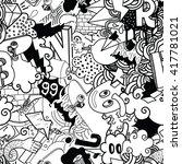 seamless pattern. graffiti... | Shutterstock .eps vector #417781021