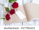 blank notebook with rose on the ... | Shutterstock . vector #417781621