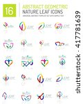 geometric leaf icon set. thin... | Shutterstock .eps vector #417781639