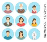 asian family faces flat vector... | Shutterstock .eps vector #417784834