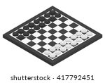 chessboard and checkers on it.... | Shutterstock .eps vector #417792451
