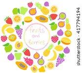 vector set of hand drawn fruit... | Shutterstock .eps vector #417794194