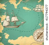 Vintage Vector Map With Sailin...
