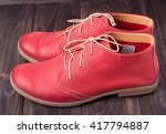 red women's leather shoes with... | Shutterstock . vector #417794887