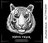 white tiger portrait. hand... | Shutterstock .eps vector #417799399