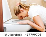young woman voimiting in the... | Shutterstock . vector #417799705