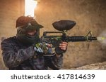 paintball player in protective...   Shutterstock . vector #417814639