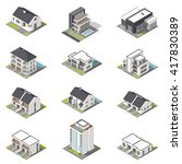 different houses isometric icon ... | Shutterstock .eps vector #417830389