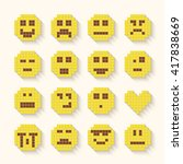 flat pixel smile icons set with ... | Shutterstock .eps vector #417838669