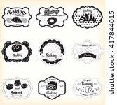 set frames pastry  croissant ... | Shutterstock .eps vector #417844015