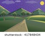 landscape mountain night   Shutterstock .eps vector #417848434
