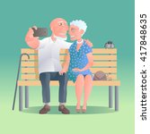 old people happy and active... | Shutterstock .eps vector #417848635