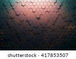 red hexagon pattern. 3d... | Shutterstock . vector #417853507