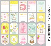baby unicorn tags. banners.... | Shutterstock .eps vector #417853879