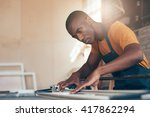skilled young african craftsman ... | Shutterstock . vector #417862294