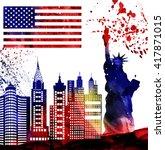 silhouette new york city  ...   Shutterstock . vector #417871015