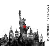 silhouette new york city  ... | Shutterstock . vector #417871021