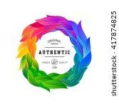 Circle Frame With Fun Rainbow...