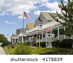 A neighborhood of victorian style homes near the Jersey shore. - stock photo