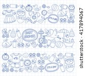baby icons hand drawn doodle... | Shutterstock .eps vector #417894067