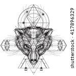 front view of bear head doodle  ... | Shutterstock .eps vector #417896329