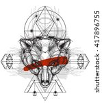 front view of bear head doodle  ...   Shutterstock .eps vector #417896755