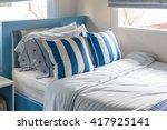 modern kid's bedroom with blue... | Shutterstock . vector #417925141