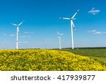 windwheels and yellow flowers... | Shutterstock . vector #417939877