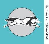 husky logo design on blue...   Shutterstock .eps vector #417946141