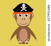 monkey in a pirate hat on a...   Shutterstock .eps vector #417951484