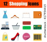 flat design shopping icon set...