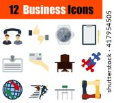 flat design business icon set...