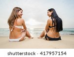 two happy and smiling women... | Shutterstock . vector #417957154