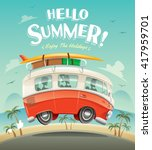 hello summer  camper van.... | Shutterstock .eps vector #417959701